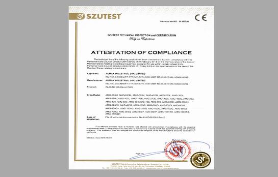 CE Certificate for Aumax Plastic Granulator